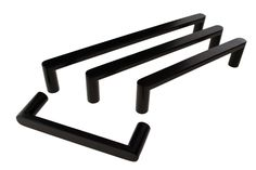 Square Handles with rounded edges, matt black handles sizes are 12x6mm in 7 different sizes, 96, 128, 160, 192, 320, 448 & 576mm C-C