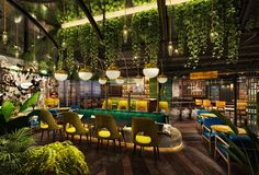 The London Project promises botanical dining, a gin garden, craft beers and a modern British menu. Hookah Lounge Decor, Cafe Interior, Interior Design, Modern Restaurant Design, Fun Restaurants In Nyc, Forest Cafe, English Country Gardens, Diy Patio, Cafe Design
