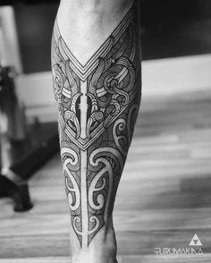 Body Art Tattoos, New Tattoos, Tribal Tattoos, Sleeve Tattoos, Tattoos For Guys, Cool Tattoos, Full Leg Tattoos, Leg Tattoo Men, Calf Tattoo
