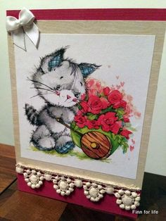 Handmade card with with lace