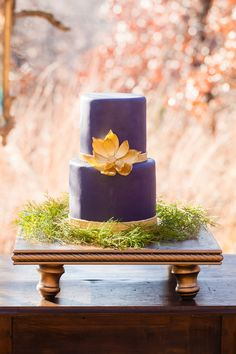 Wedding Colors - Purple + Gold   WEDDING CAKE   See more on SMP: http://www.StyleMePretty.com/little-black-book-blog/2014/02/28/purple-gold-wedding-ideas/ Picturesque Photos By Amanda   Event Design: Erica Weddings