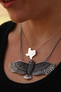 retro EaGLE necklace. fly baby fly.