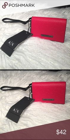 "A/X ARMANI EXCHANGE Genuine Leather Wristlet. A/X ARMANI EXCHANGE Wristlet. Genuine Leather.        Size : 4 1/2"" X 3"" A/X Armani Exchange Bags Clutches & Wristlets"