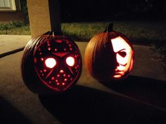 My first ever pumpkin carve no stencils! Welcome Jason and Michael Myers Friday the 13th  Halloween