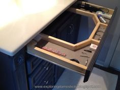 Exploring Domesticity: Secret Vanity Drawer : taking advantage of unused space