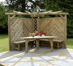 Table and Benches Corner Pergola, Bench, Cornerpergola, Outdoor Curtains