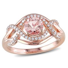6.0mm Morganite and 1/5 CT. T.W. Diamond Ring in Rose Rhodium Plated Sterling Silver - View All Rings - Zales