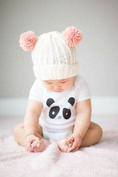 Bear Pom Beanie   All About Ami - I need to make 2... One for each baby this winter! <3