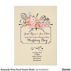 Burgundy Wine Floral Ornate Wedding Invitations
