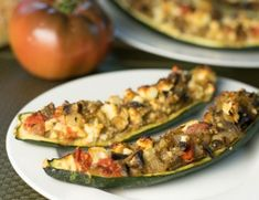 Feta and Mushroom Stuffed Zucchini Recipe