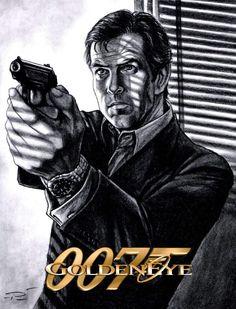PIERCE BROSNAN 007 Art by Pat Carbajal