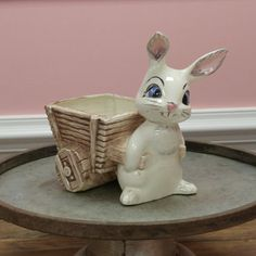 Vintage Ceramic Bunny Rabbit Wagon Candy Dish! by ToastyBarkerBoutique on Etsy