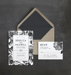 Vintage Floral Wedding Invitation Suite | Black and White | Botanical Wedding Invitation | Rustic Wedding Invitation | Modern Type