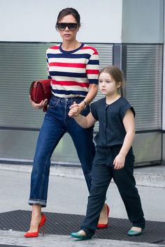 Victoria Beckham Does a Mommy Moment in Stripes