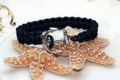 Navy Blue Anchor Bracelet Square Knot Cuff by thejewelryhutch, $10.00