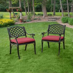 Black Solid Cast Aluminum Patio Dining Chairs Set Of 2