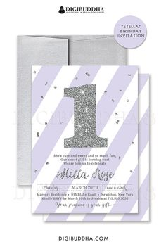 Lilac + silver glitter 1st birthday invitations in a soft pastel purple and silver glitter sparkle number one. Customizable to any age. Choose from ready made printed invitations with envelopes or printable First birthday invitations. Matching envelope liners and lilac envelopes also available. digibuddha.com
