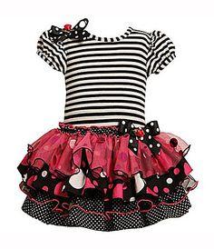 Bonnie Jean 2T6X Dotted Drop Waist Tiered Knit Dress #Dillards