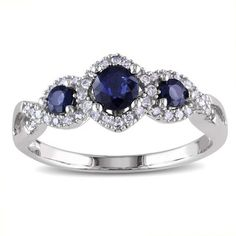 @Overstock - Miadora 10k White Gold Sapphire and 1/8ct TDW Diamond Engagement Ring (H-I, I2-I3) - 3-Stone sapphire and round white diamond ring10-karat white gold jewelryClick here for ring sizing guide  http://www.overstock.com/Jewelry-Watches/Miadora-10k-White-Gold-Sapphire-and-1-8ct-TDW-Diamond-Engagement-Ring-H-I-I2-I3/8746553/product.html?CID=214117 $276.24
