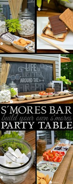 S'mores Bar Party | build your own smores party table set up #letsmakesmores
