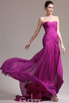 Sweetheart Dropped Waist Chiffon Evening Dress. cheap evening gowns. #eveningdresses #cheappromdresses