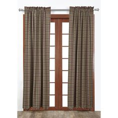 ackson Curtains are a deep burgundy, warm green and tan with dark country blue accent plaid. 100% cotton fabric and come scalloped lined.
