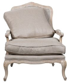 Armchair VICTOR indigo linen, bleached old oak. French Provincial Furniture, French Furniture, Luxury Furniture, Bergere Chair, Armchair, Living Room Paint, French Country Decorating, Furniture Makeover, Chair Design