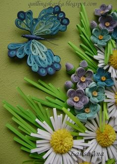 Butterfly and flowers#quilled insect#quilled flowers