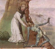 St. Bernard de Clairvaux choking a demon. 悪魔の首にキュキュっとする聖ベルナルドゥスさん。き 1490年頃 Orléans, Musée hist. et arch A 5827 f.28v