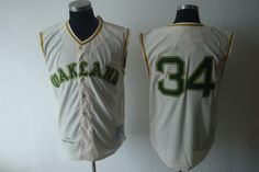 Mitchell And Ness 1968 Athletics #34 Rollie Fingers Cream Cool Base Embroidered MLB Jersey! Only $18.50USD