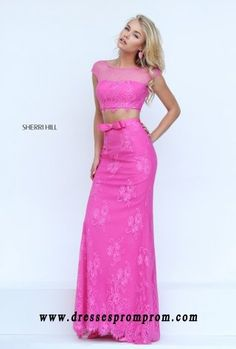 2016 Sherri Hill 50334 Two Piece Lace Dress With Swiss Dot Neckline Cap Sleeves and Bow