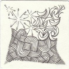 Ein Zentangle aus den Mustern Jaysix, Joy, Rocco, gezeichnet von Ela Rieger, CZT