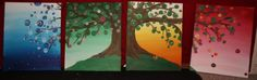 Four Seasons Tree 4 Canvas Oil Painting by smARTartBYMcSwish, $75.00
