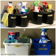Home Organizing Ideas -- Different caddies sorted and labeled for different cleaning chores