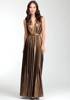 Deep V Neck Sleeveless Long Dress.