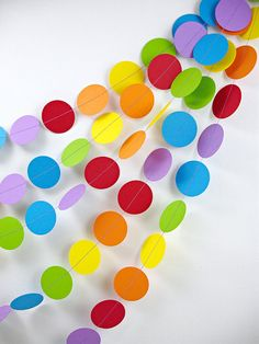 Rainbows Dots Garland 20ft. /////// Birthday Party Decor // Playroom Decor // Kids Rainbow Party //