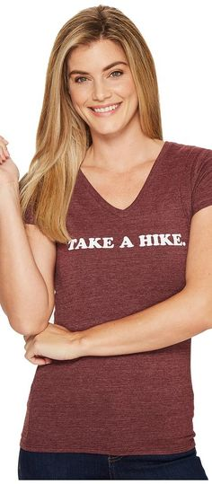 The North Face Short Sleeve Take a Hike V-Neck Tri-Blend Tee (Deep Garnet Red Heather) Women's T Shirt - The North Face, Short Sleeve Take a Hike V-Neck Tri-Blend Tee, NF0A2UZOHJM, Apparel Top Shirt, T Shirt, Top, Apparel, Clothes Clothing, Gift, - Fashion Ideas To Inspire