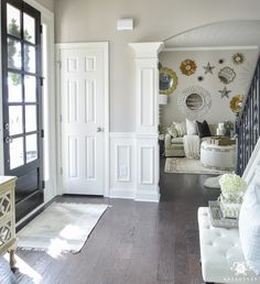 Organized Foyer Coat Closet- Before and After Makeover. Gorgeous entryway with french door, staircase, and art gallery wall. Open Entryway, Entryway Closet, Mudroom, Coat Closet Organization, Home Office Organization, Organizing, Small Space Bathroom, Small Spaces, Trendy Home