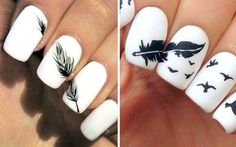 Simple Nail Art Designs That You Can Do Yourself – Your Beautiful Nails Elegant Nail Designs, Simple Nail Art Designs, Elegant Nails, Fall Nail Designs, Feather Nail Designs, Feather Nails, Fancy Nail Art, Fancy Nails, Nail Art Designs