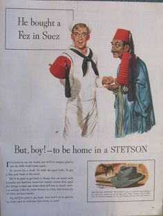 Sailor buys a Fez in Suez, WWII Stetson Hat Ad   eBay