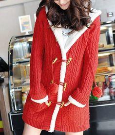 Pocket Red Wool Hooded Cardigan