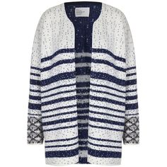LEON & HARPER Monster Cardigan (£178) ❤ liked on Polyvore featuring tops, cardigans, midnight, short-sleeve cardigan, patterned cardigans, oversized cardigan, cardigan top and wet look top