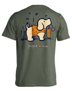 Puppie Love Military Green Dynasty Hunter Camo Pup Short Sleeve Unisex Tee