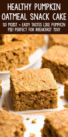 Healthy Pumpkin Oatmeal Breakfast Cake - SO moist & easy to make! It tastes like pumpkin pie! Totally kid approved & perfect for snacks too! ♡ easy healthy pumpkin snack cake recipe. clean eating moist pumpkin cake from scratch. homemade small batch pumpkin spice oatmeal cake. Healthy Pumpkin Bread, Pumpkin Spice Cake, Healthy Pumpkin Smoothie, Easy Pumpkin Cake, Pumpkin Recipes Healthy Easy, Pumpkin Deserts, Easy Clean Eating Recipes, Easy Cake Recipes, Healthy Baking