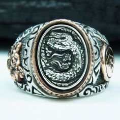 THE JAPANESE SERPENT 925 STERLING SILVER US Size 11.25 MEN'S BIKER RING gb-r009 #Handmade