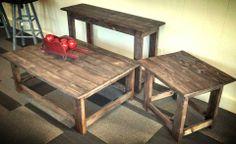 Reclaimed Living Room Tables - Featured at Good Wood in Grantville, GA. Made from reclaimed Australian Pine. Like us on Facebook: https://www.facebook.com/GrantvilleGoodWood