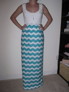 Chevron Maxi Skirt  Size Small by AnniesApparel on Etsy, $25.00
