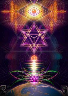 Inner Cosmos ॐ Sacred Geometry Art, Sacred Art, Art Fractal, Art Visionnaire, Les Chakras, Love Energy, Visionary Art, Psychedelic Art, Occult