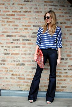 Our Summer Uniform: striped top, bootcut jeans, peep-toe wedges, classic sunnies & a bold clutch. What's yours?
