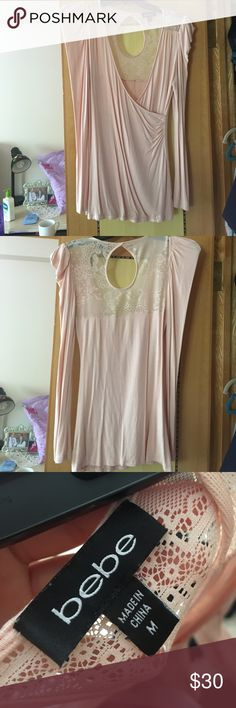 Light pink Bebe long sleeve with lace back Light pink size medium Bebe long sleeve light pink going out shirt bebe Tops Blouses